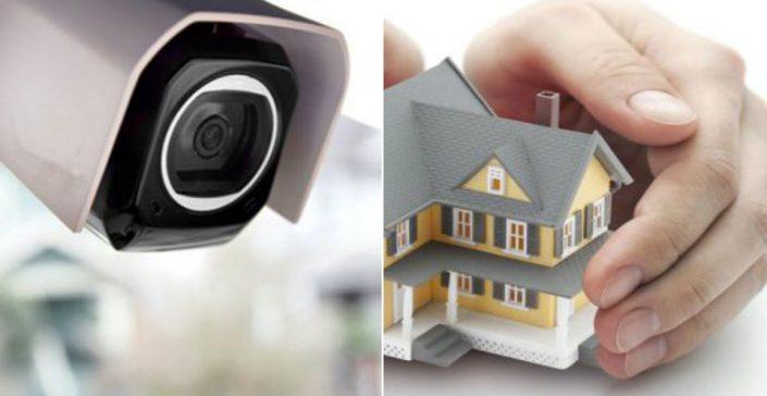 Cámara de seguridad protegiendo una casa
